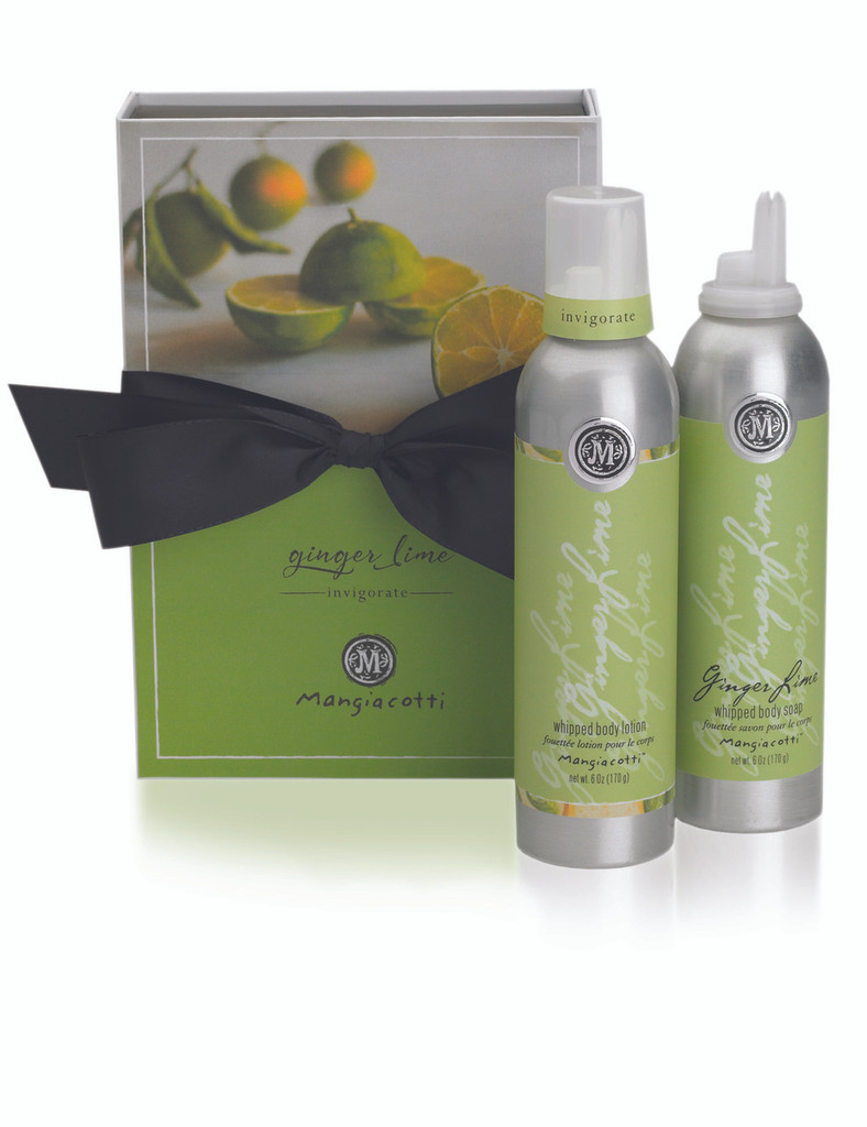 Green box with black bow and both Whipped Body Lotion and Whipped Body Wash.
