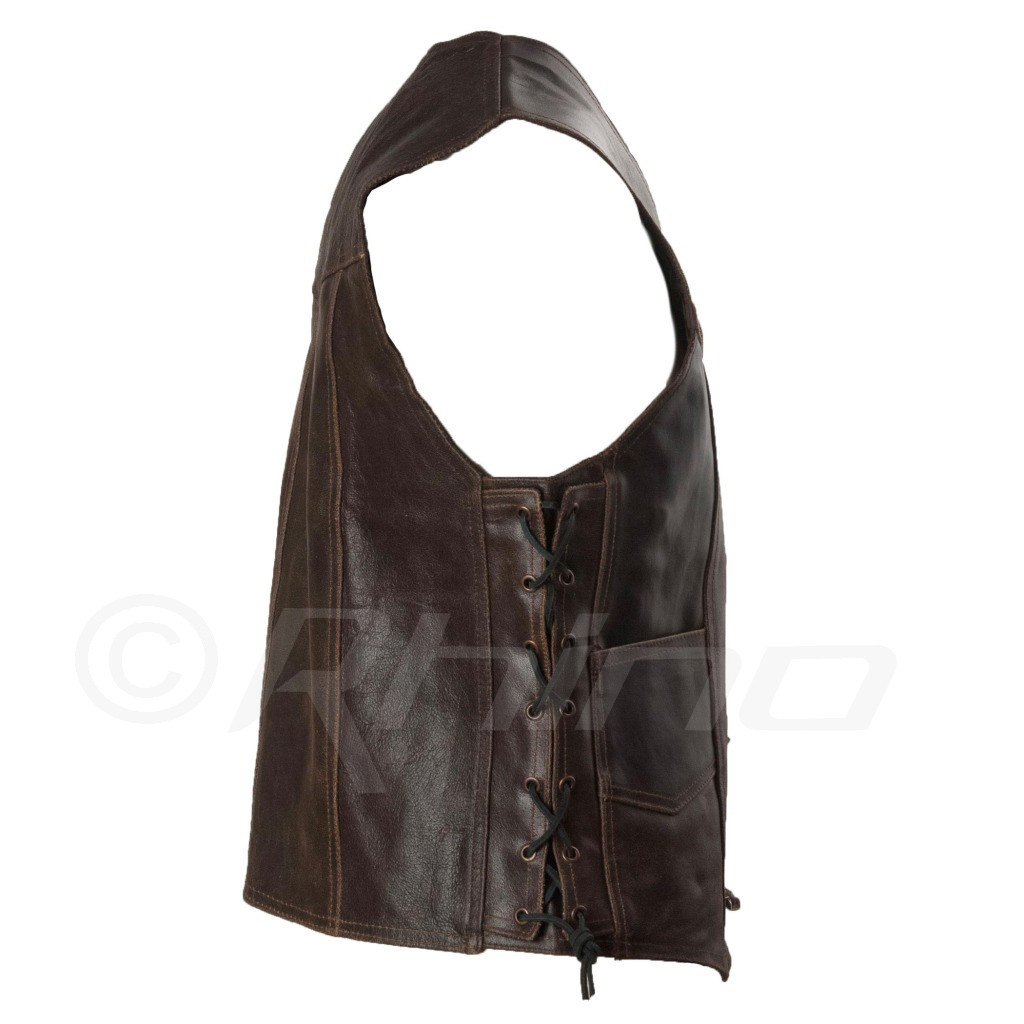 Dark Brown Distressed Leather Vest with Metal Clasps - side
