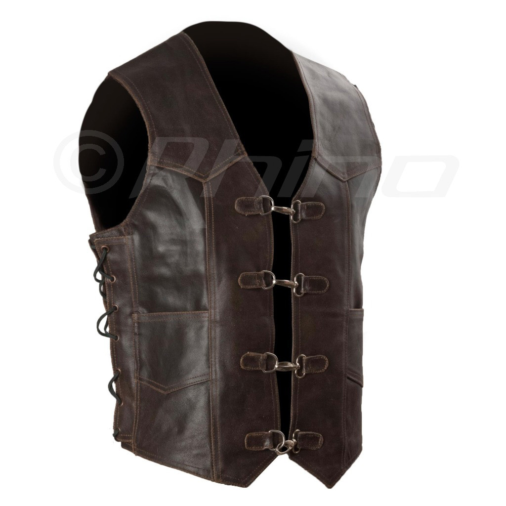 Dark Brown Distressed Leather Vest With Metal Clasps