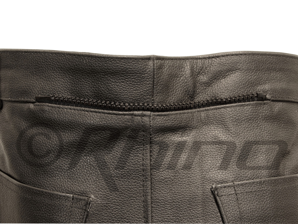 Motorcycle leather pants - zipper on back to attach jacket