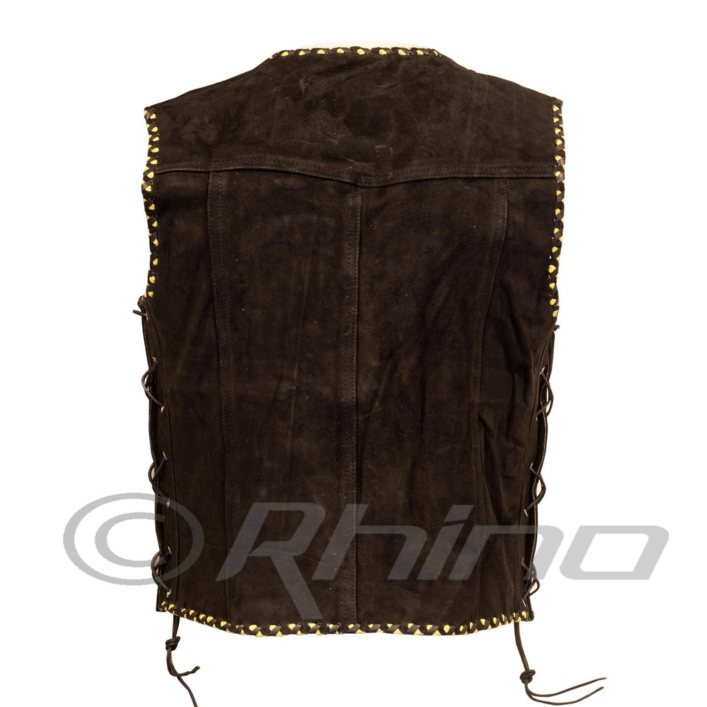 Suede Vest with Metal Clasps and Black and Yellow Braiding - back view