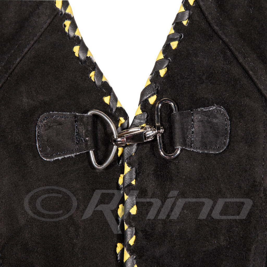 Suede Vest with Metal Clasps and Black and Yellow Braiding - close up