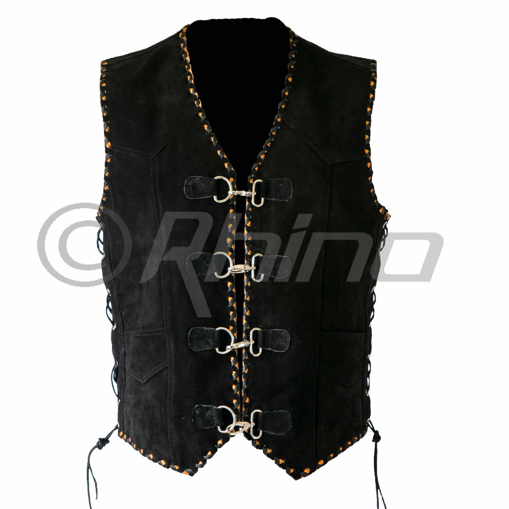 Suede Vest with Metal Clasps and Black and Orange Braiding