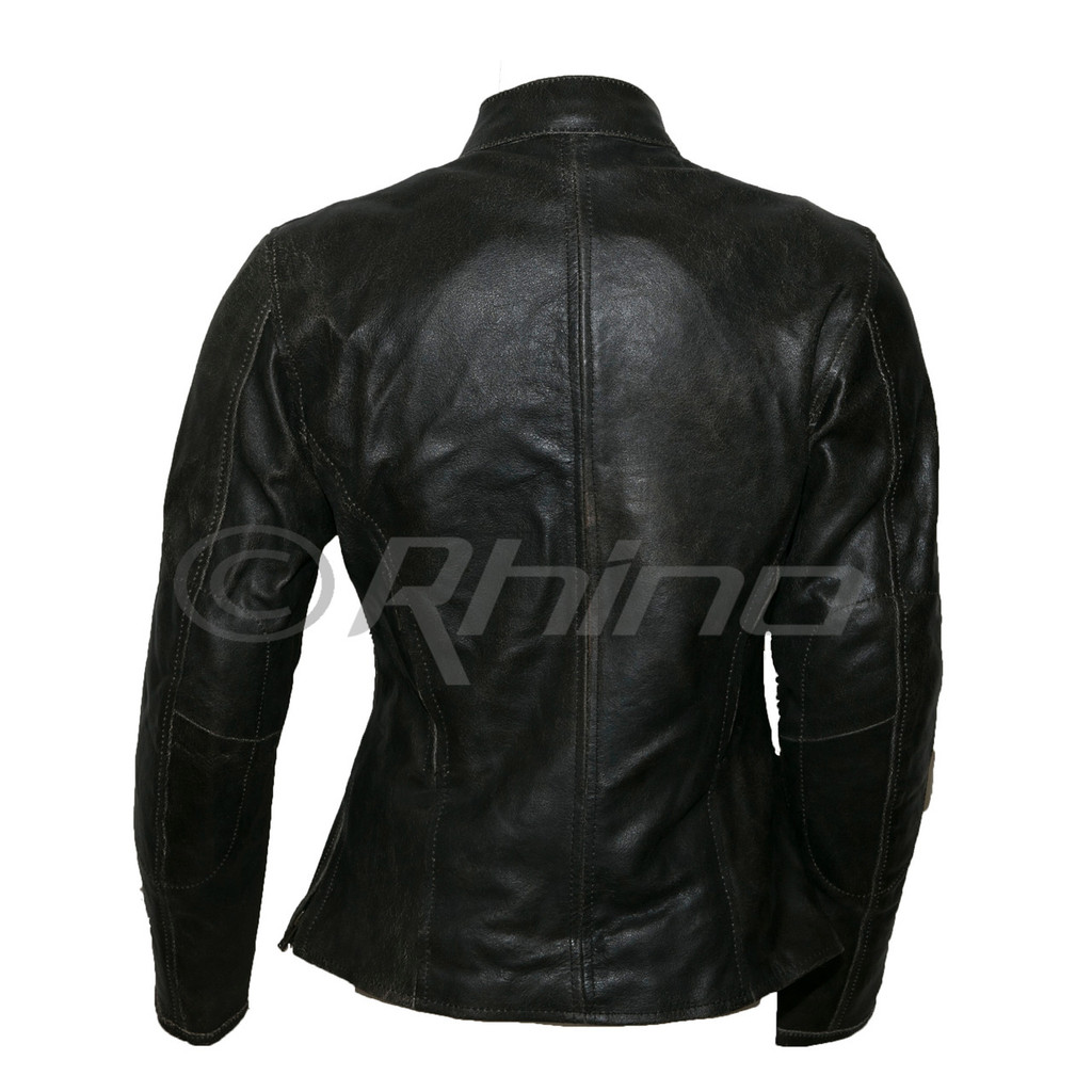 Women's Dark Brown Vintage Distressed Leather Motorcycle Jacket