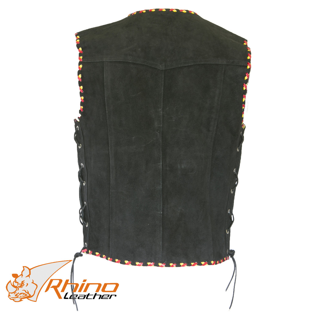 Suede Vest with Metal Clasps and Red and Yellow Braiding