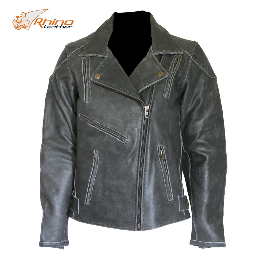 Diana Women's Black Vintage Distressed Leather Motorcycle Jacket