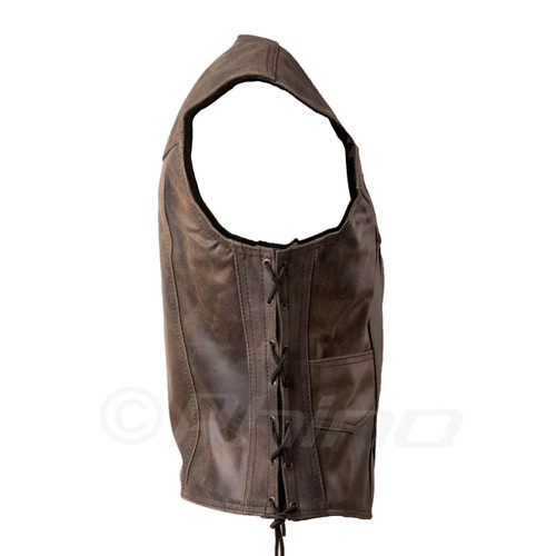 Brown Distressed Leather Vest with stud buttons - side