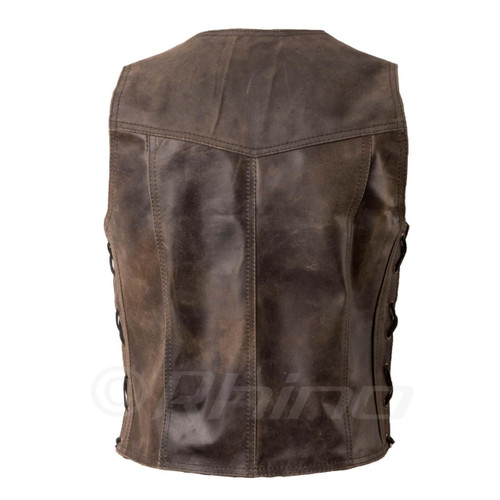 Brown Distressed Leather Vest with stud buttons - back