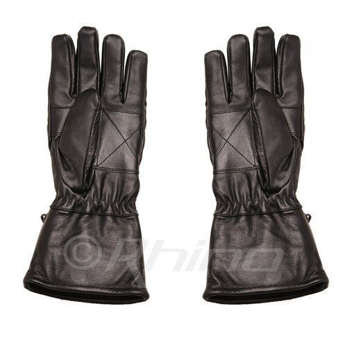 Leather Motorcycle Gauntlet Gloves with rain cover and pocket - front palm