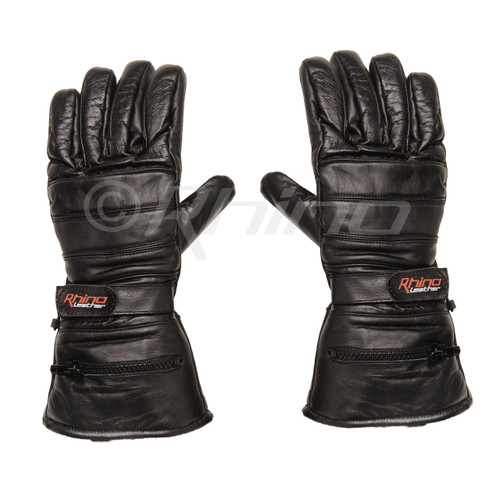 Leather Motorcycle Gauntlet Gloves with rain cover and pocket - back palm