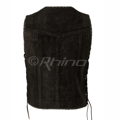 Suede Vest with Metal Clasps and Black Leather Braiding - back view
