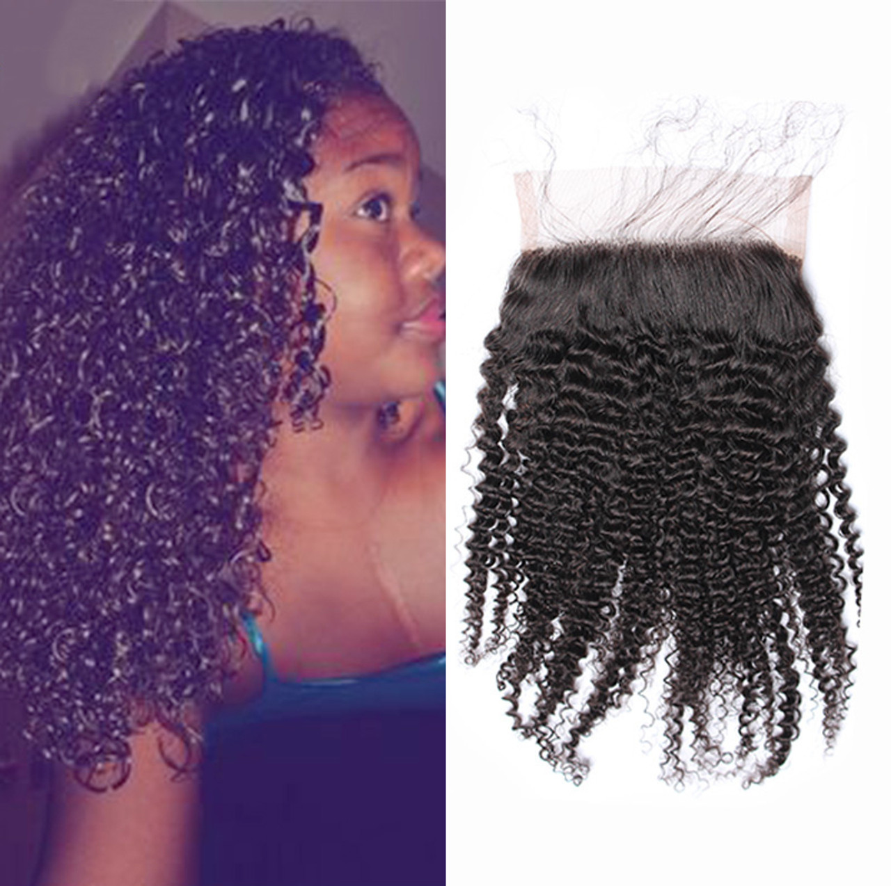 Remeehi Malaysian Kinky Curly Lace Closure 5x5 Free Middle 3 Part