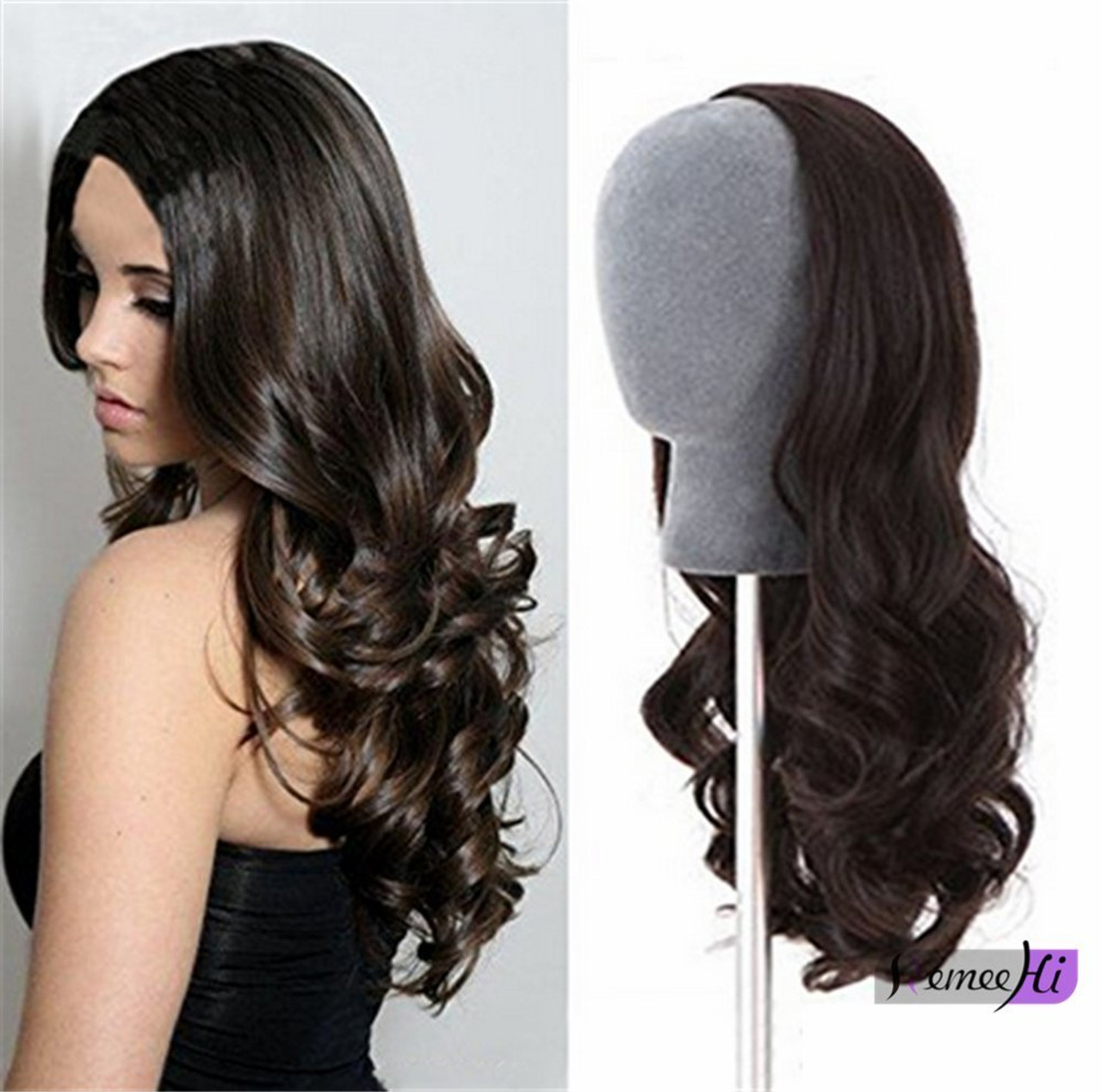 Remeehi Wavy Half Wig Clip In Hair Extension Indian Remy Human 100