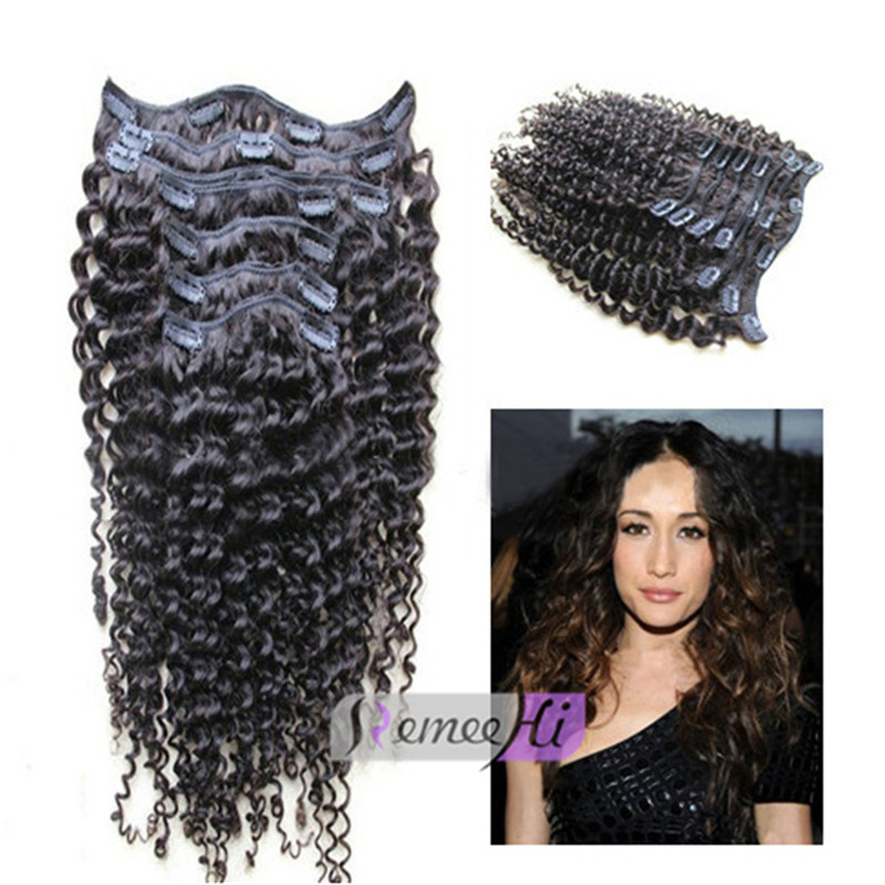 Remeehi Deep Curly Human Hair Clip In 7pcs 100g Human Hair