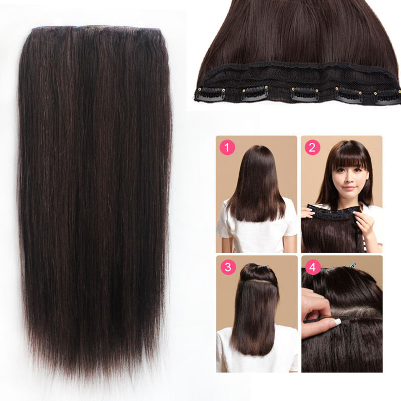 One Piece 5 Clip In Remy Human Hair Extensions Super Thick Straight