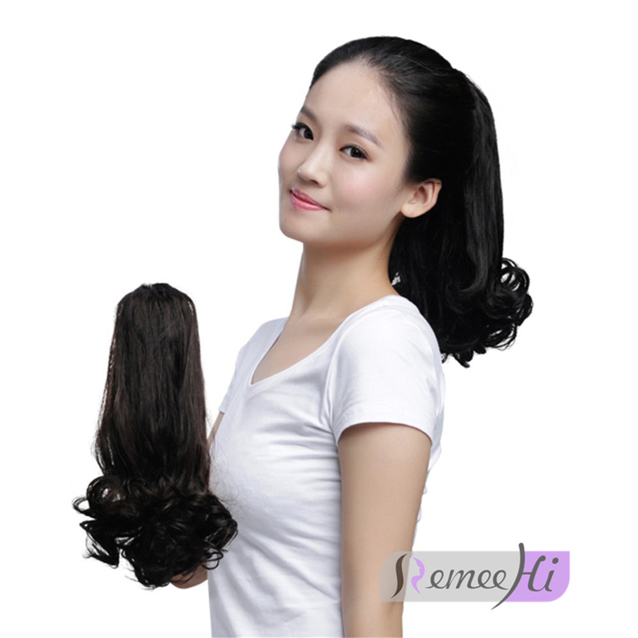 Remeehi Tail Waves Hair Pieces Jaw Claw Clip In Ponytail Hair
