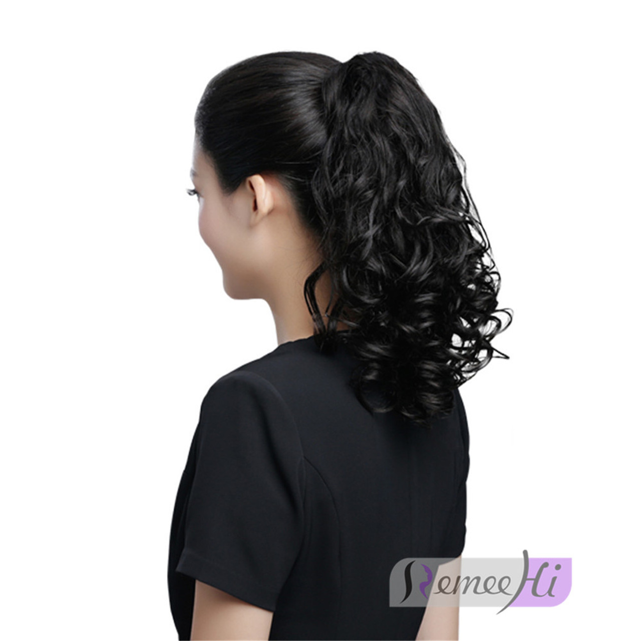Remeehi Wavy Hairpieces Jaw Claw Clip In Ponytail Hair Extensions