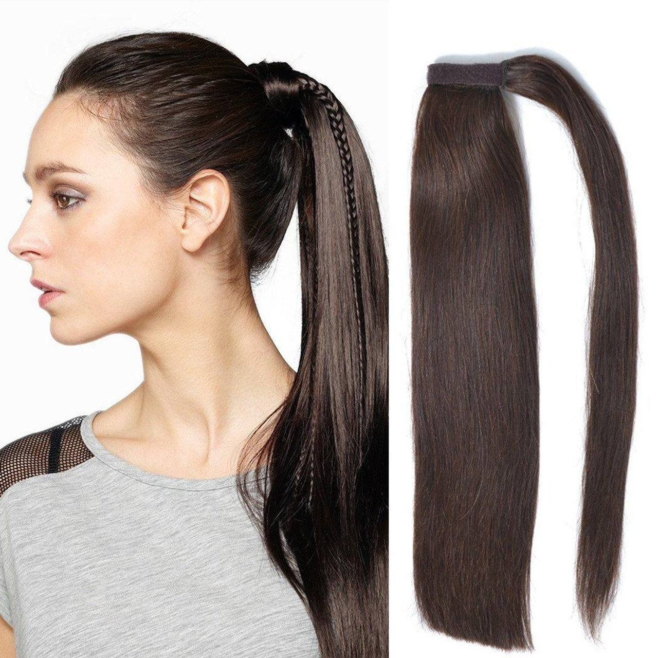 Remeehi 100 Real Human Hair Straight Wrap Around Ponytail Extension For Woman 85g 15