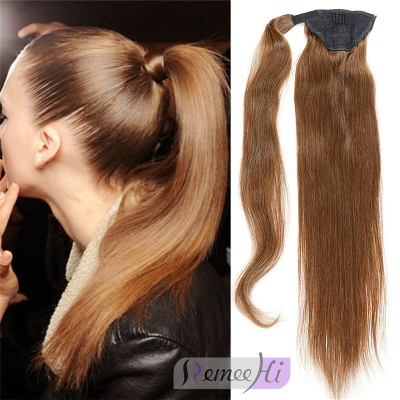 Remeehi Straight Remy Human Hair Clip Ponytails 120g Human Hair
