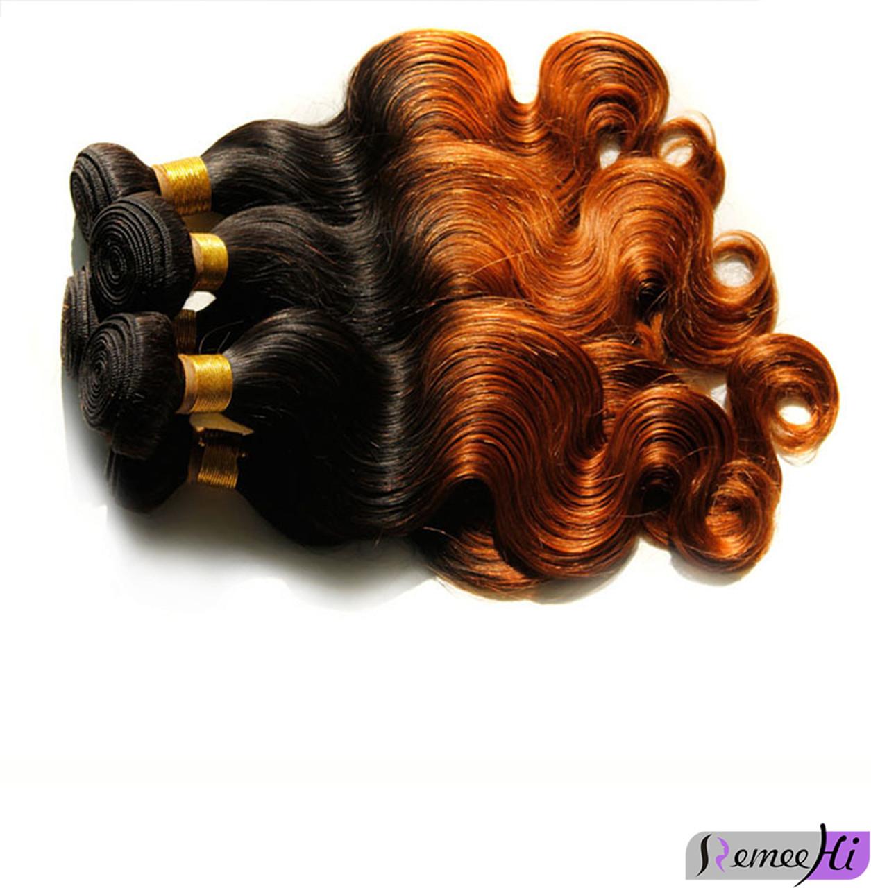 Remeehi Brazilian Virgin Human Hair Weft Body Wave Ombre Hair