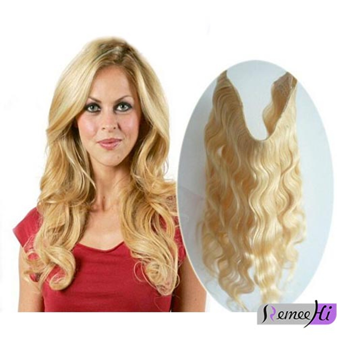 Body Wave Secret Halo Hair Extensions Invisible Wire Flip Remy Human ...