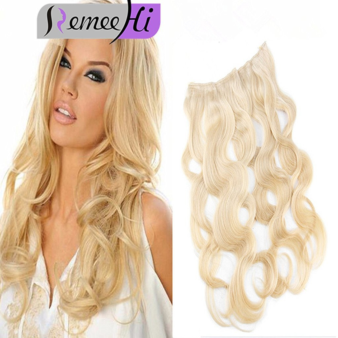 Remeehi Body Wave Secret Halo Hair Extensions Invisible Wire Flip Remy Human 80G Width