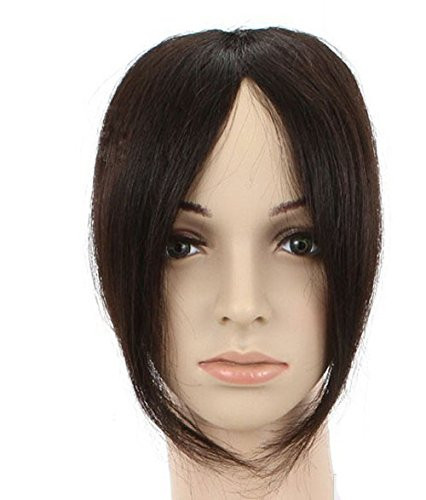 Remeehi Fashion Womens Real Human Hair Middle Part Bangs Fringe Hand Tied Lace Clip In Extension 1B