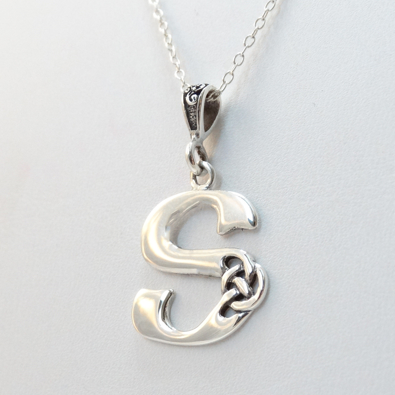 gold s letter pendant yg web chain products necklace vrai and p cuban oro yellow