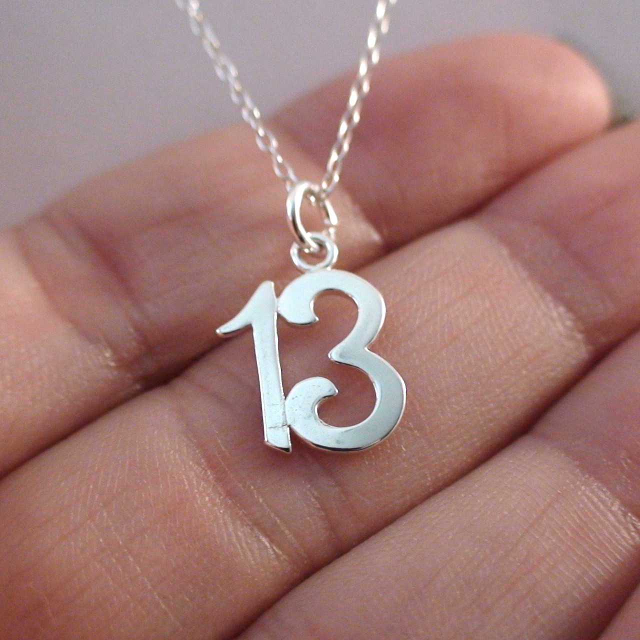 Thirteen 13 number charm necklace in sterling silver number 13 charm necklace in sterling silver aloadofball Image collections