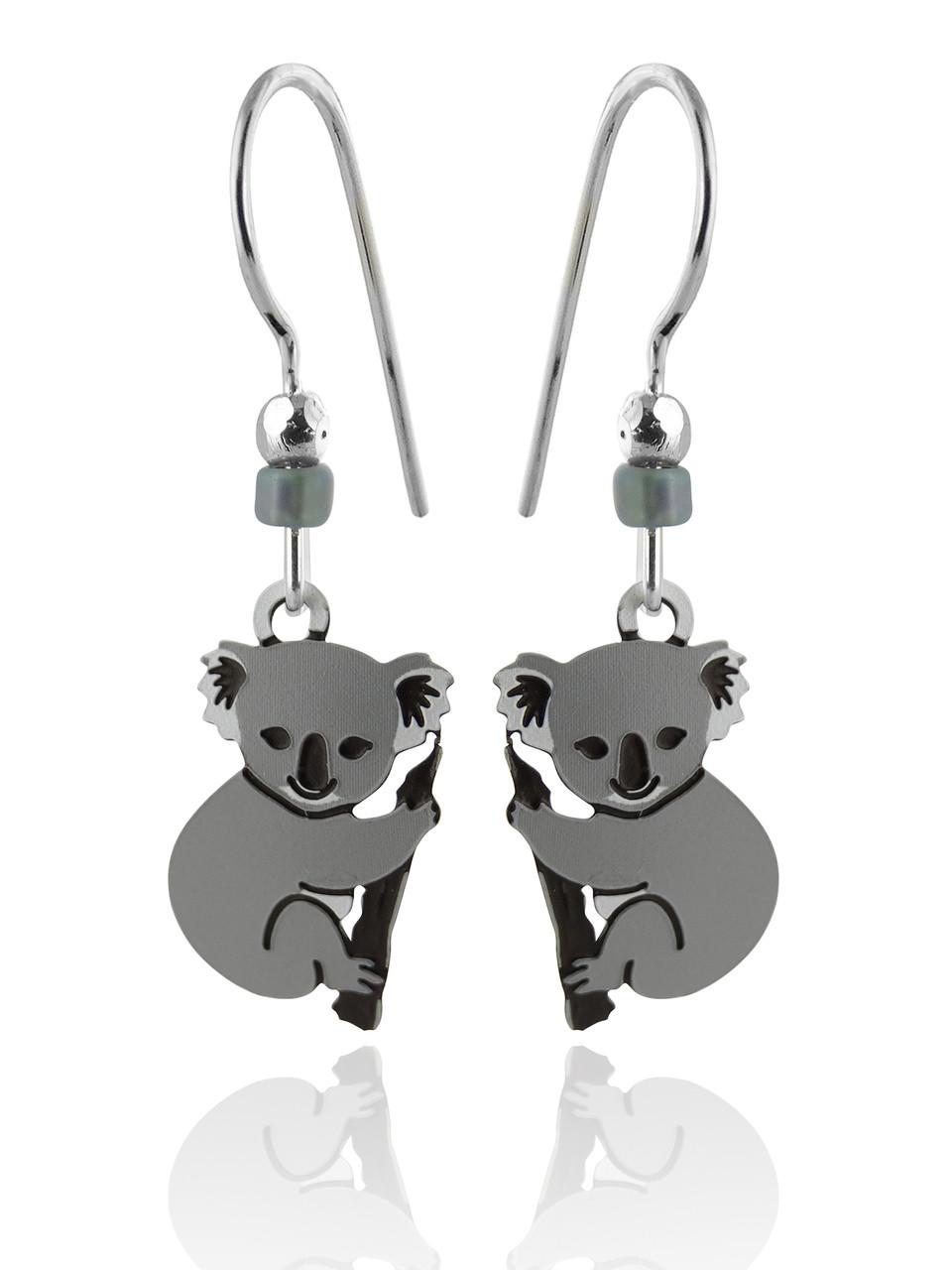 Sterling Silver Koala Bear Earrings PyZcfhygQ