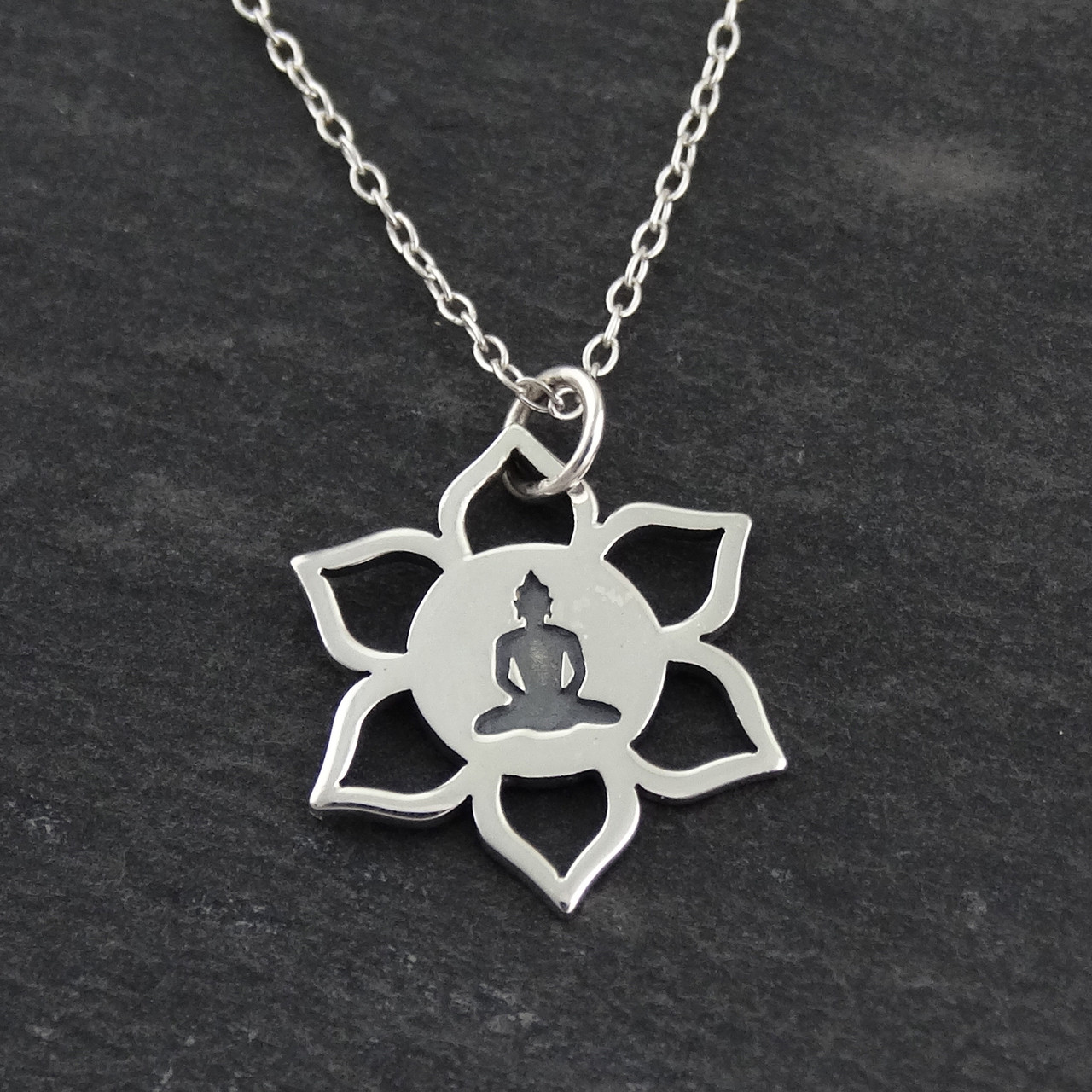 Buddha lotus flower necklace in 925 sterling silver fashionjunkie4life lotus flower buddha necklace 925 sterling silver izmirmasajfo Images