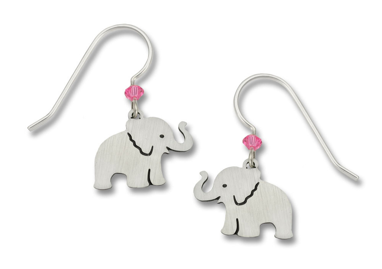 sterling earrings small stud dogeared silver elephant alt