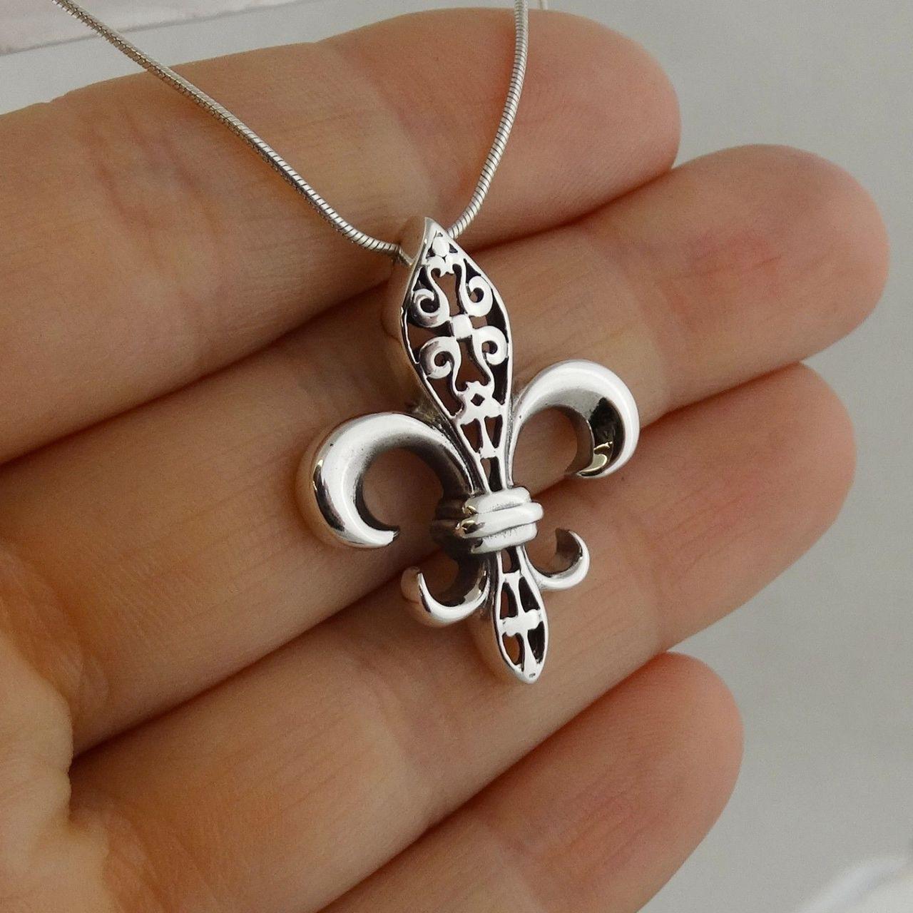 Large fleur de lis pendant necklace 925 sterling silver snake large fleur de lis pendant necklace 925 sterling silver snake chain aloadofball Choice Image