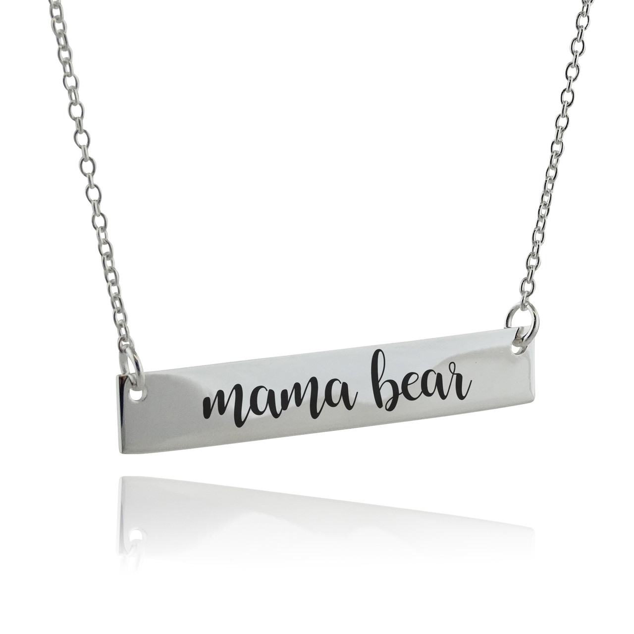 com bear bar necklace pipercleo plated silver products n gold mama