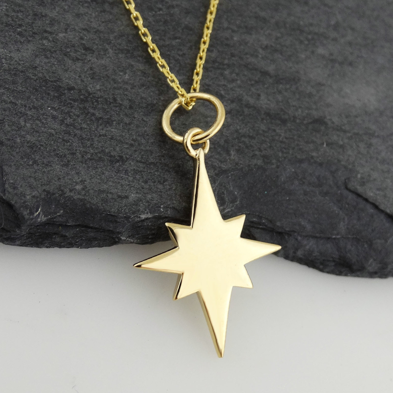 working pendant silver compass star necklace real sterling north