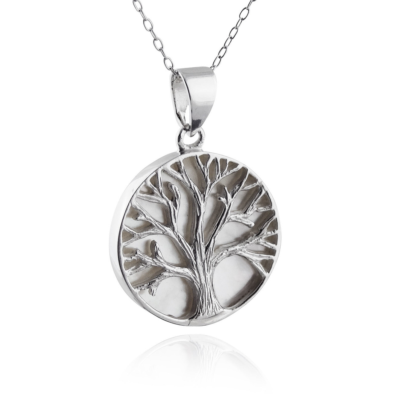 in necklace tree of white life gold