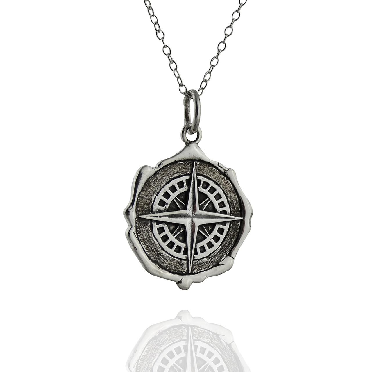 sterling necklace engraved silver necklaces product compass hand