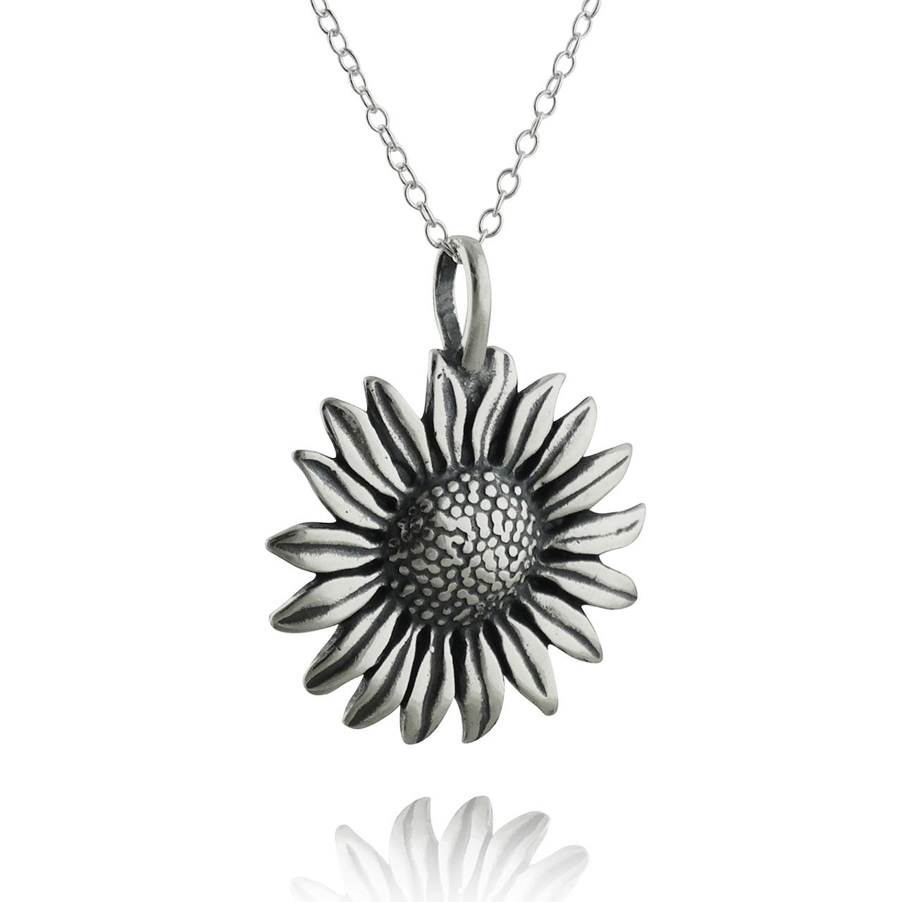 Sunflower pendant necklace sterling silver aloadofball Gallery