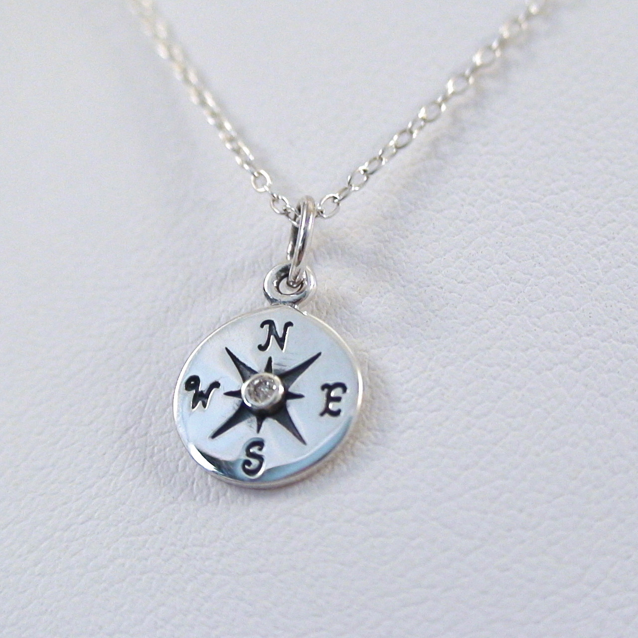 Sterling silver compass necklace with 1pt genuine diamond sterling silver compass charm necklace with genuine 1pt diamond aloadofball Choice Image