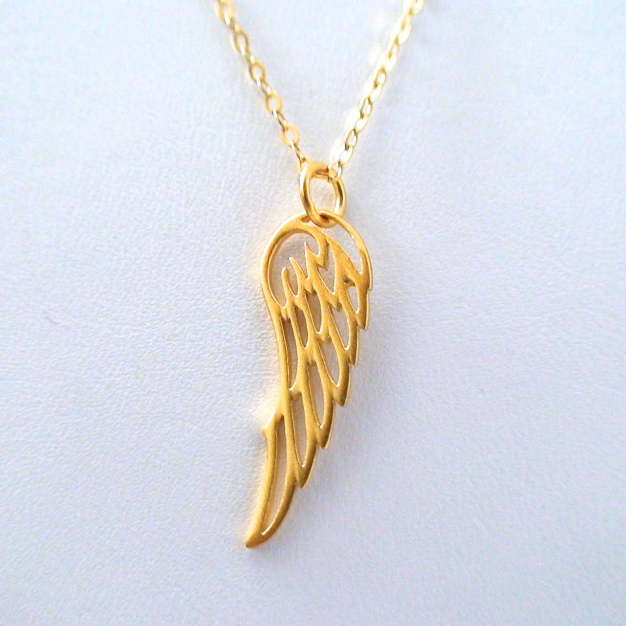 Angel Wing Charm Necklace 24K Gold Plate Sterling Silver