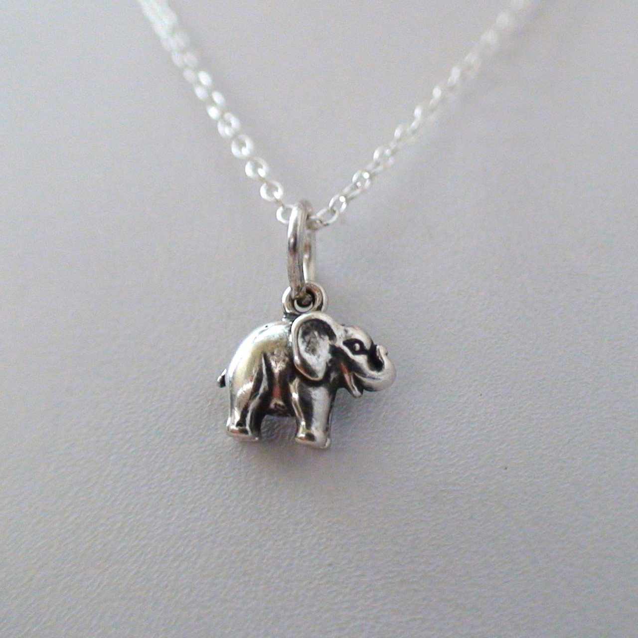 Tiny elephant necklace 925 sterling silver tiny sterling silver elephant charm necklace mozeypictures Image collections
