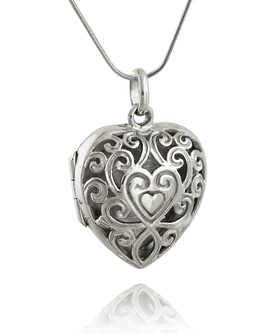 Silver Heart: Sterling Silver Heart Filigree Locket Necklace