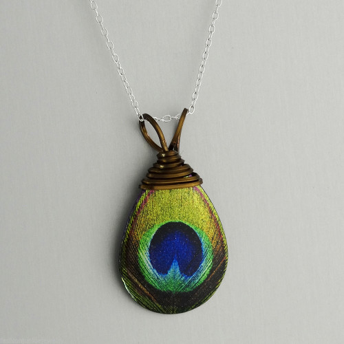 feather large ajudaica peacock com pendant