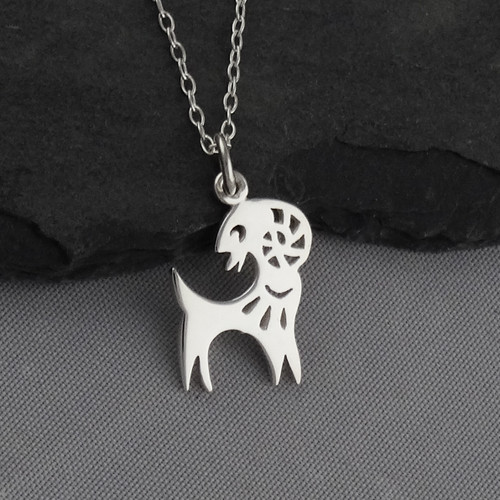 Engravable Chinese Zodiac Dog Tag Necklace: Year Of The Goat Necklace