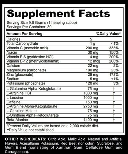 Nitro-Rage Xtreme - Supplement Facts