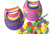 Kid's Tutti Frutti Party Package - Complete Party Kit visor activity and fruit stickers