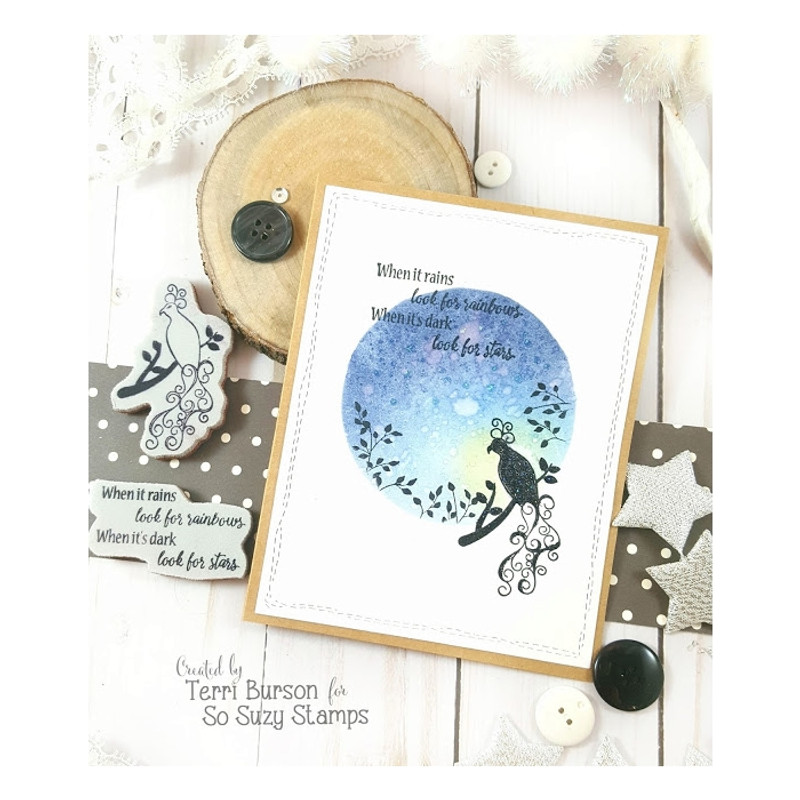 Peacock Silhouette CAS Card by Terri