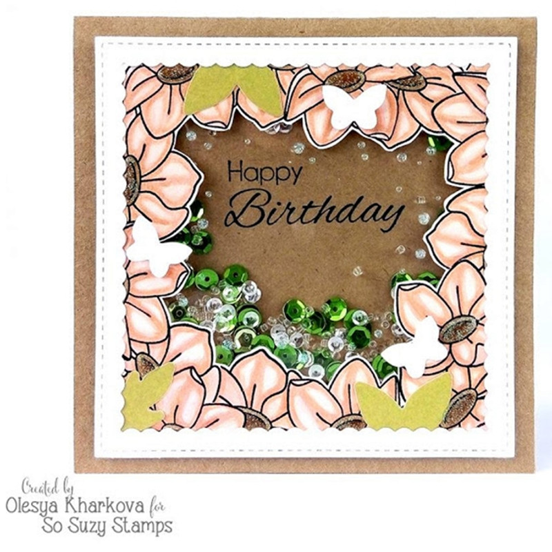 Birthday Shaker card by Olesya