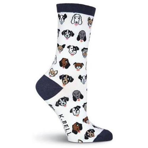 K.Bell Women's Dog Profile Crew Socks