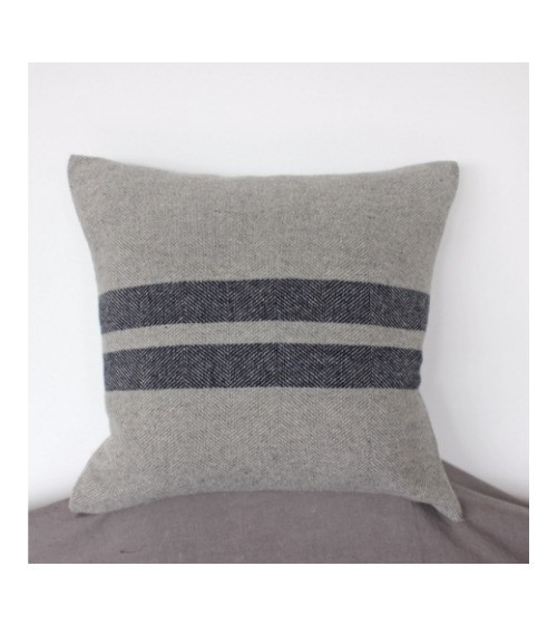 Grey Button Cushion with Navy Stripe